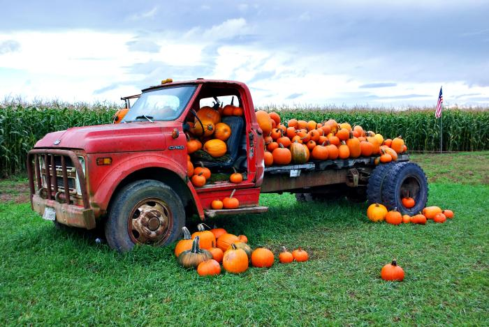 truck, pumpkins, flag