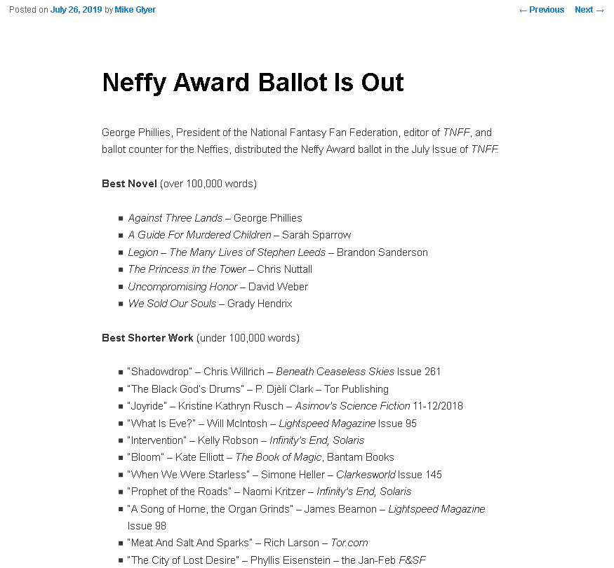 """What the Heck is a """"Neffy Award?"""" 